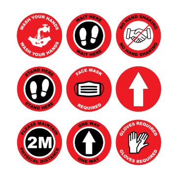Red Social Distancing Floor Marking Anti slip Laminated Stickers - 150/300mm - Pack of 10